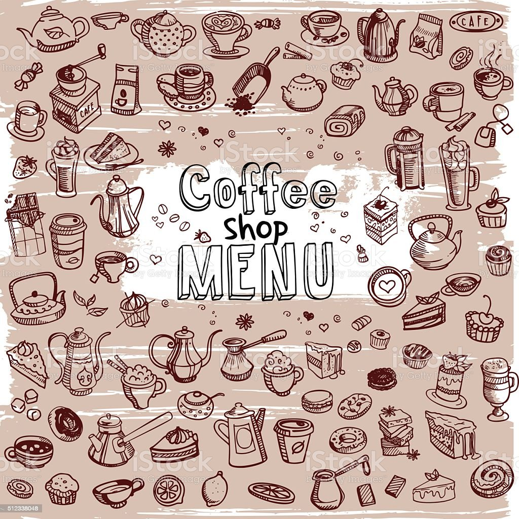 hand drawn coffee set vector art illustration