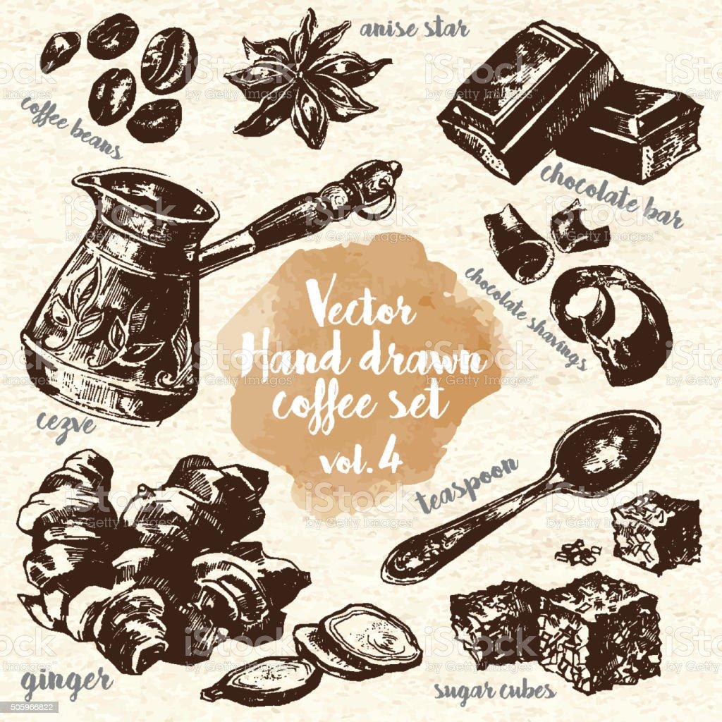 Hand Drawn Coffee Set vol.4 vector art illustration