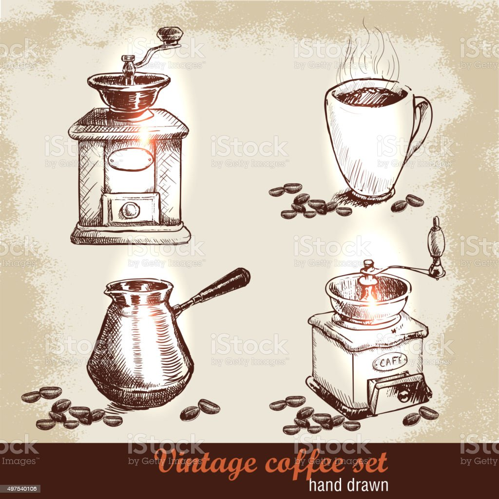 Hand drawn coffee set with coffee beans vector art illustration