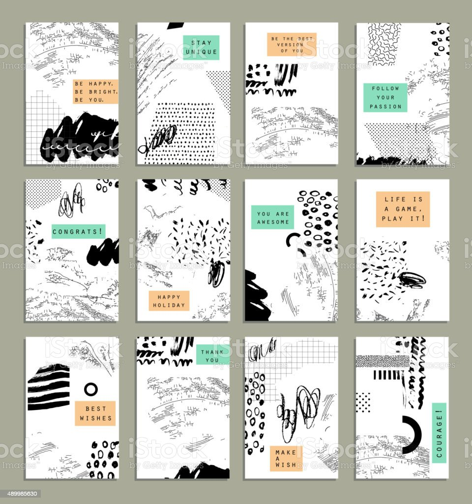 Hand drawn collection of artistic invitations with trendy colors vector art illustration