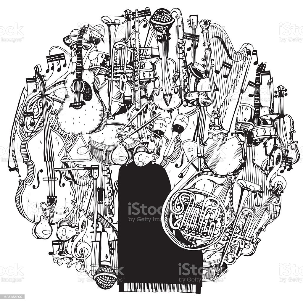 Hand drawn Collection of Music Instruments in circle. vector art illustration