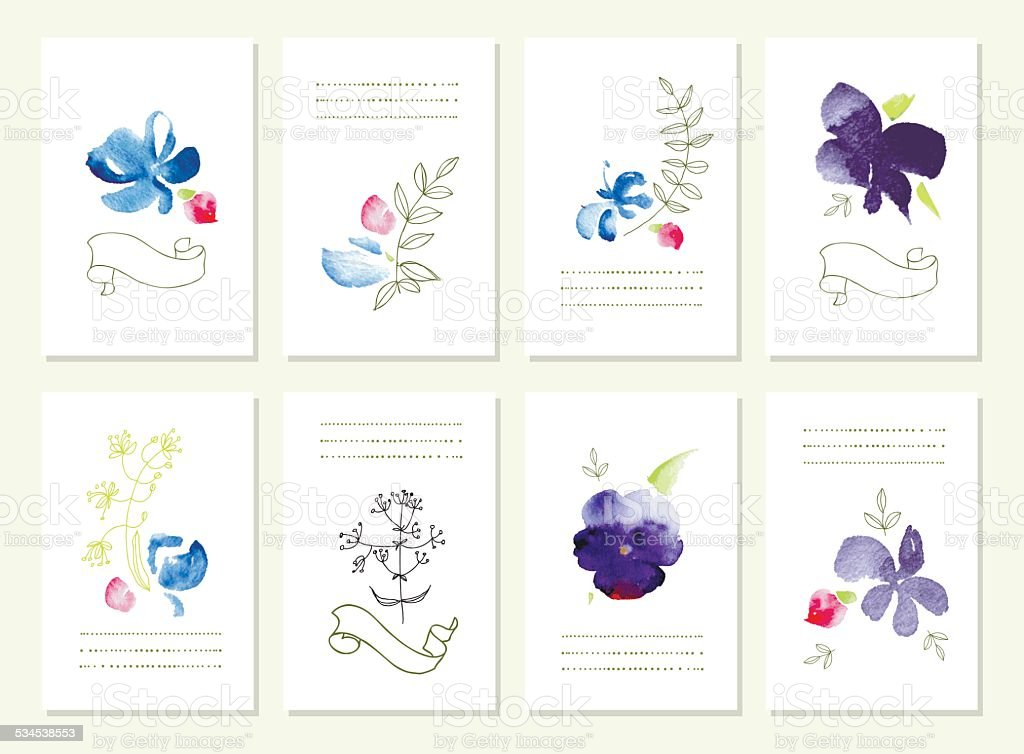 Hand drawn collection of romantic floral invitations.  Wedding,  birthday, vector art illustration