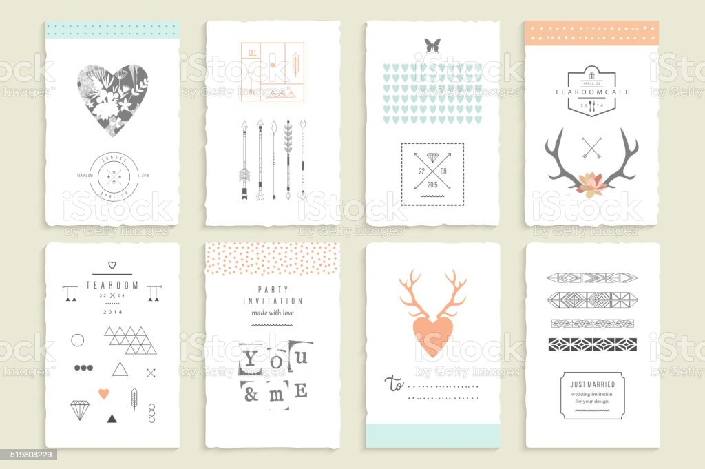 Hand drawn collection of romantic invitations. vector art illustration