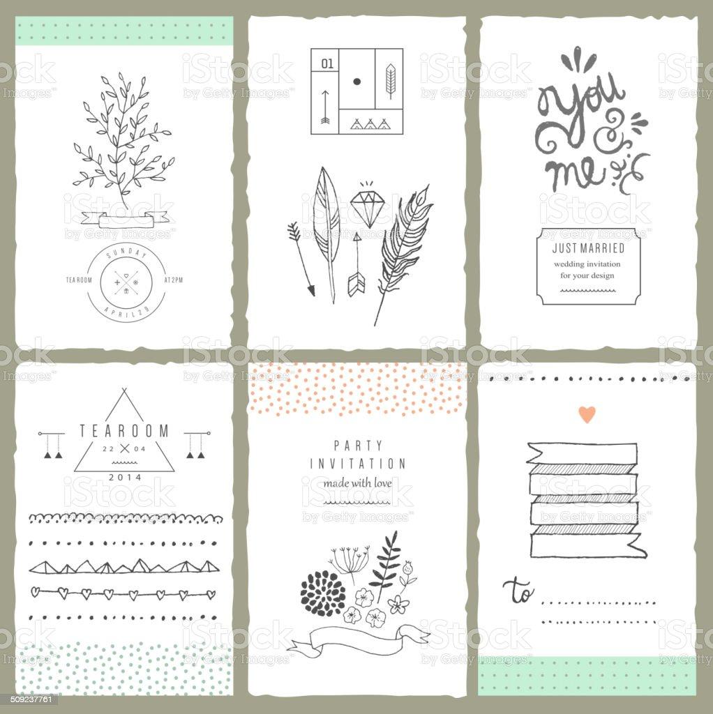 Hand drawn collection of romantic invitations. Wedding, bridal, birthday,Vector vector art illustration
