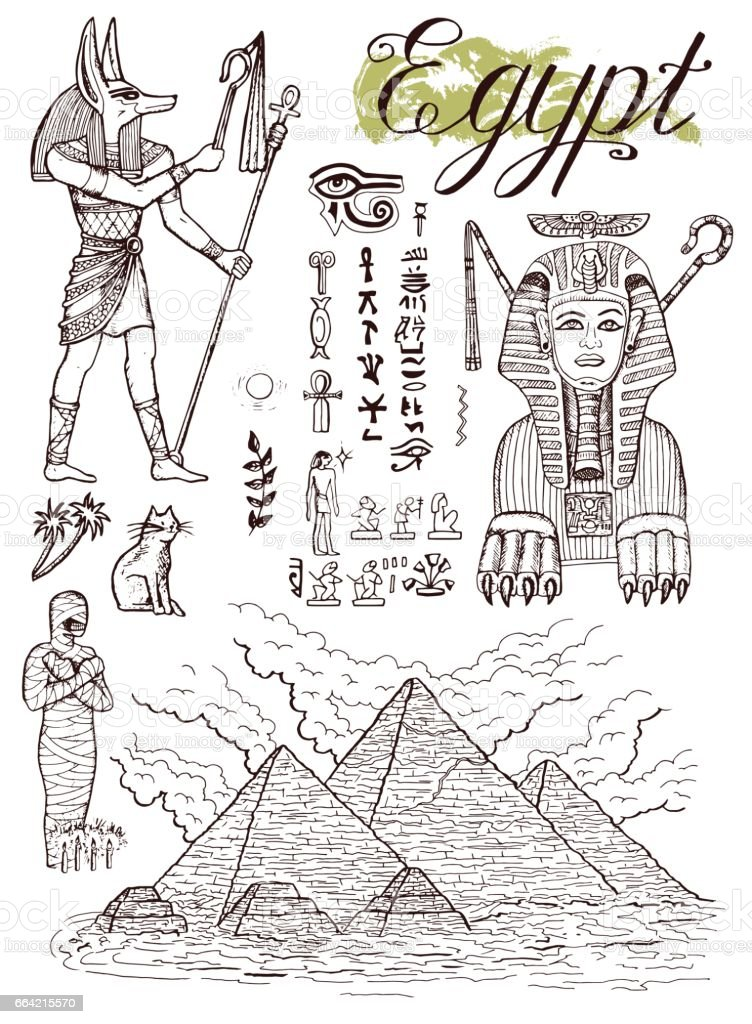 Hand drawn collection with traditional egyptian symbols vector art illustration