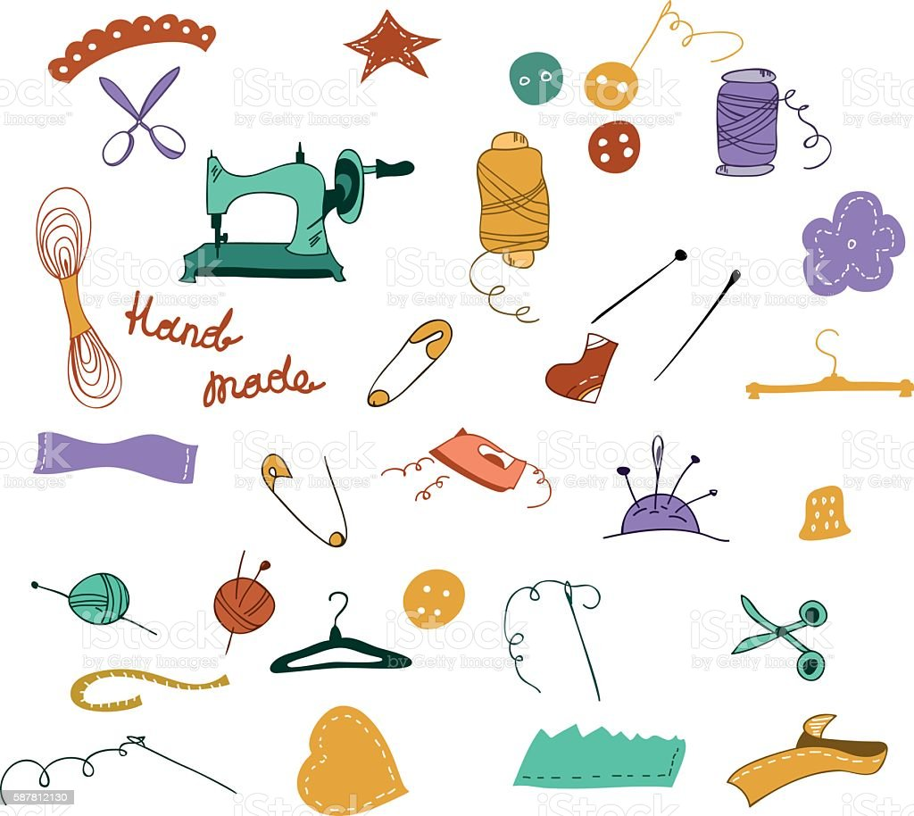 Hand drawn color set of sewing tools vector art illustration