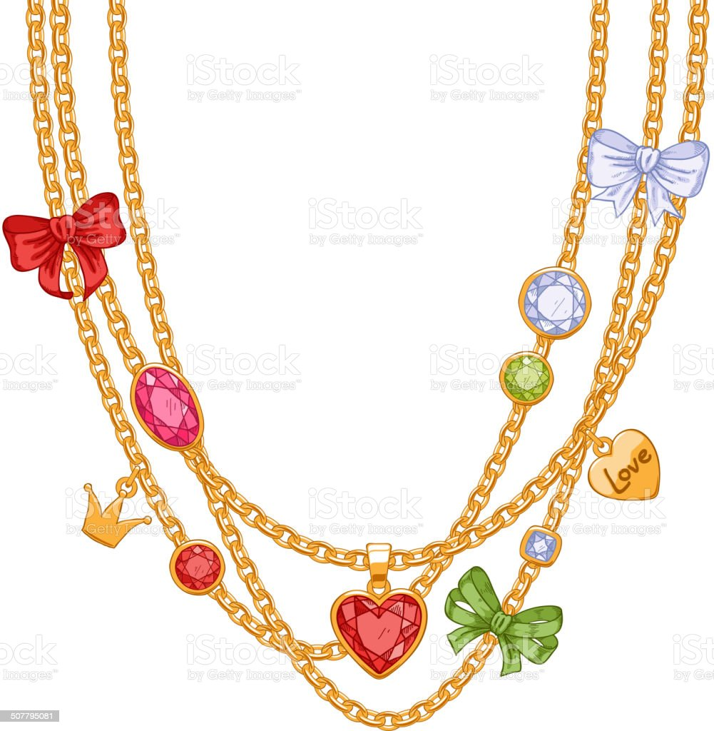 Hand drawn colorful necklace with golden chains, gemstones and bows. vector art illustration