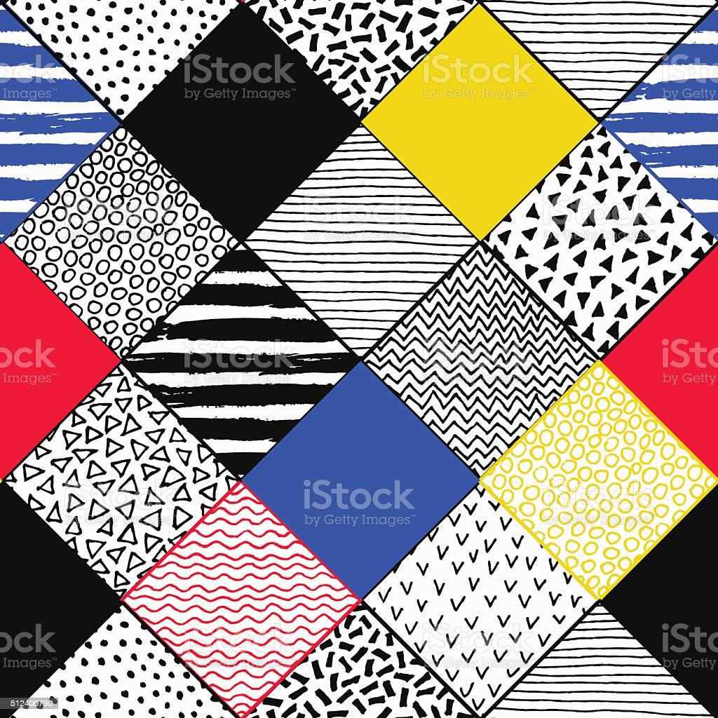 Hand Drawn Colorful Patchwork Background vector art illustration