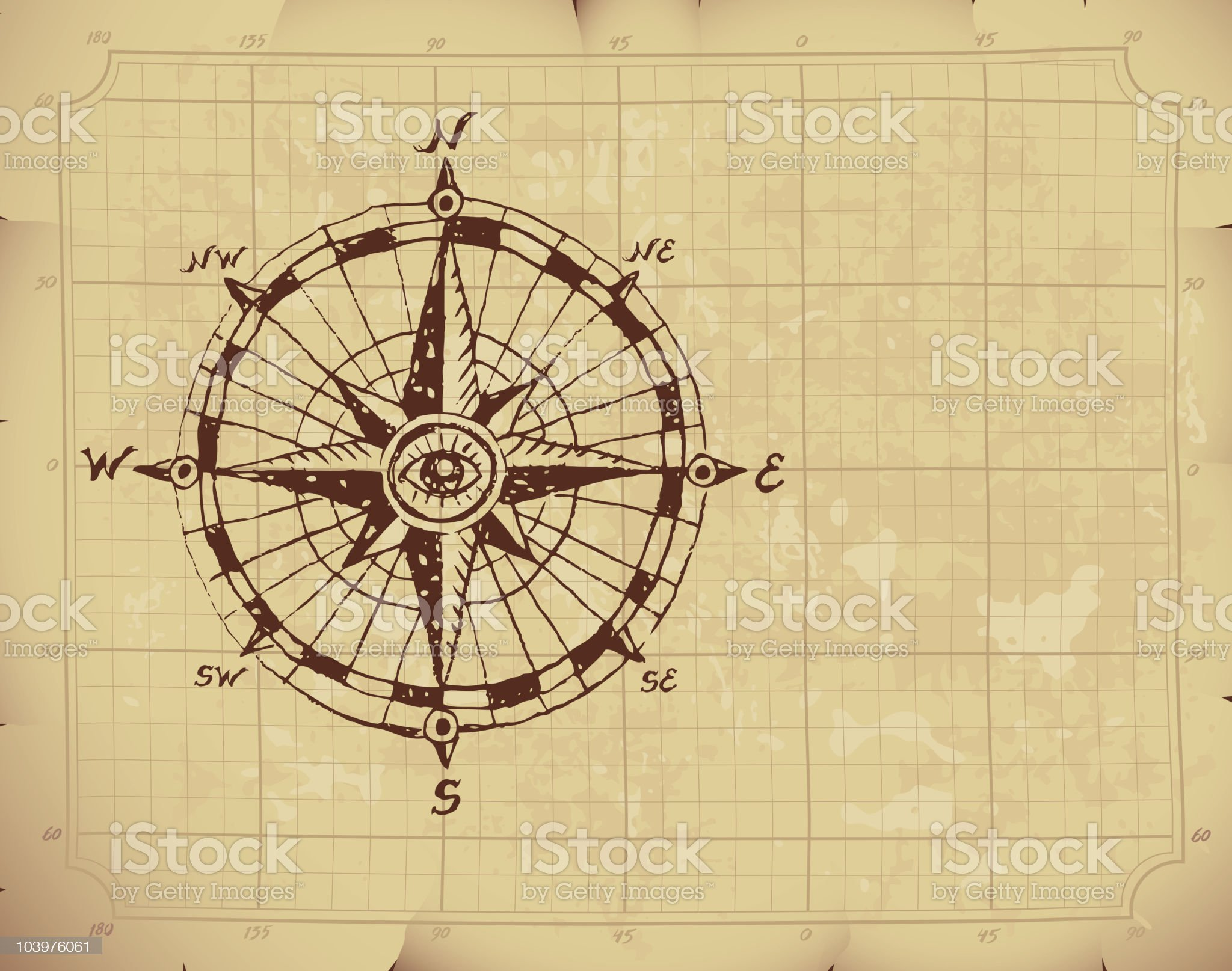 Hand drawn compass rose with an eye on the center royalty-free stock vector art