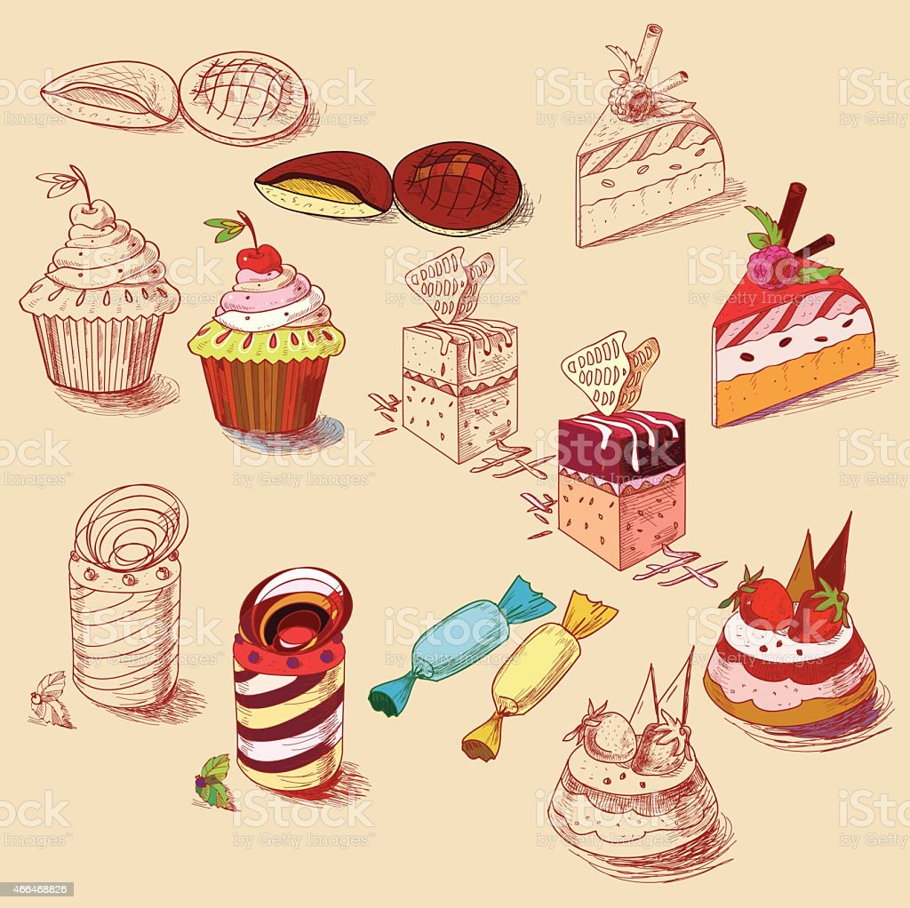 hand drawn confections dessert pastry bakery products cupcake cookie muffin vector art illustration