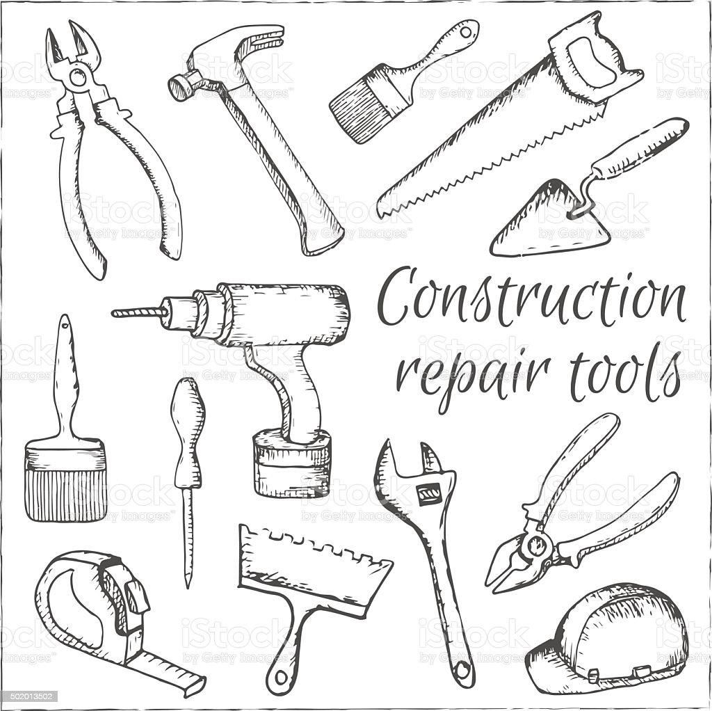 hand drawn construction and repair tools set . vector art illustration