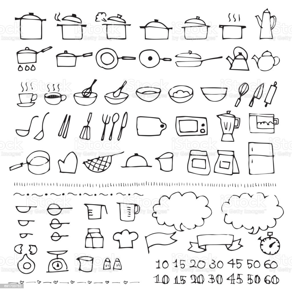 Hand drawn cookware sketch icon vector art illustration