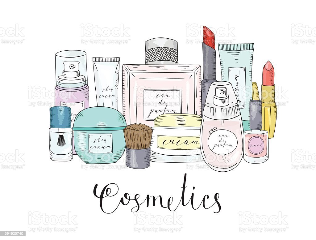 Hand drawn cosmetics set. Beauty and makeup. vector art illustration