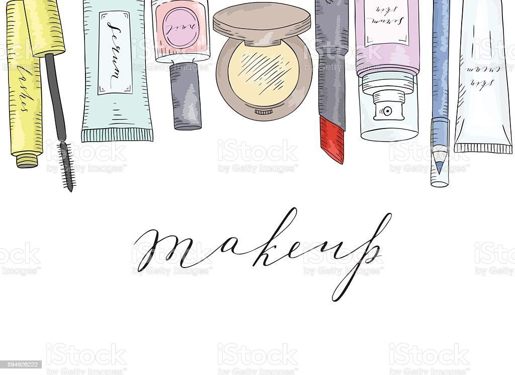 Hand drawn cosmetics set. Beauty and makeup. vector art illustration