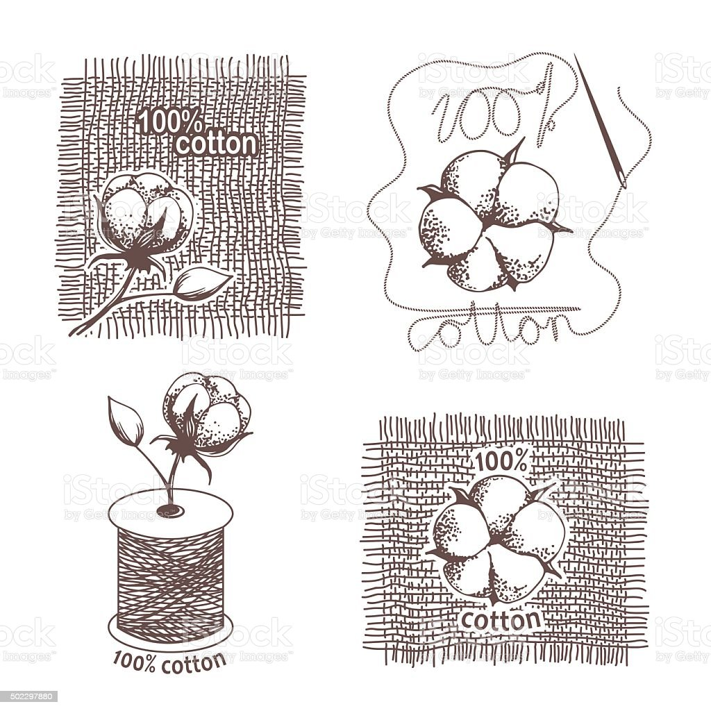 Hand drawn cotton certificates, labels vector art illustration