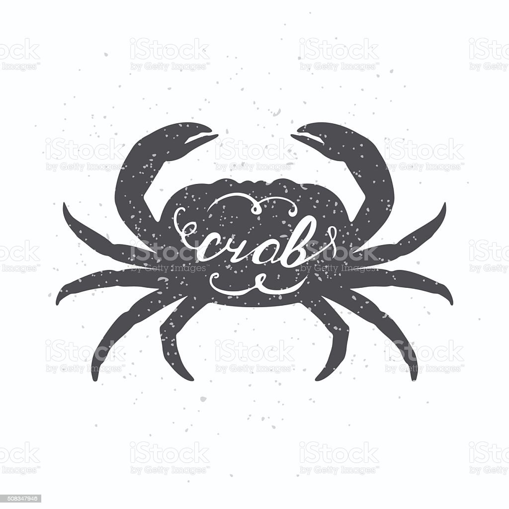 Hand drawn crab hipster silhouette. Handwritten text. Seafood shop template vector art illustration