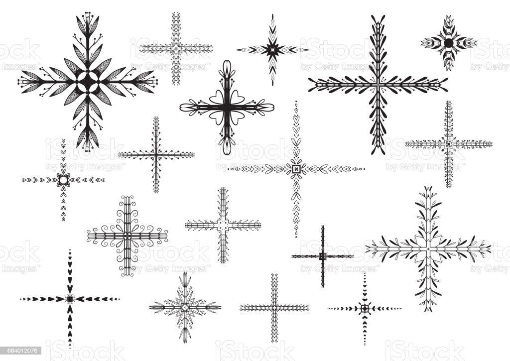 Hand drawn crosses set. Floral ornament motif. vector art illustration