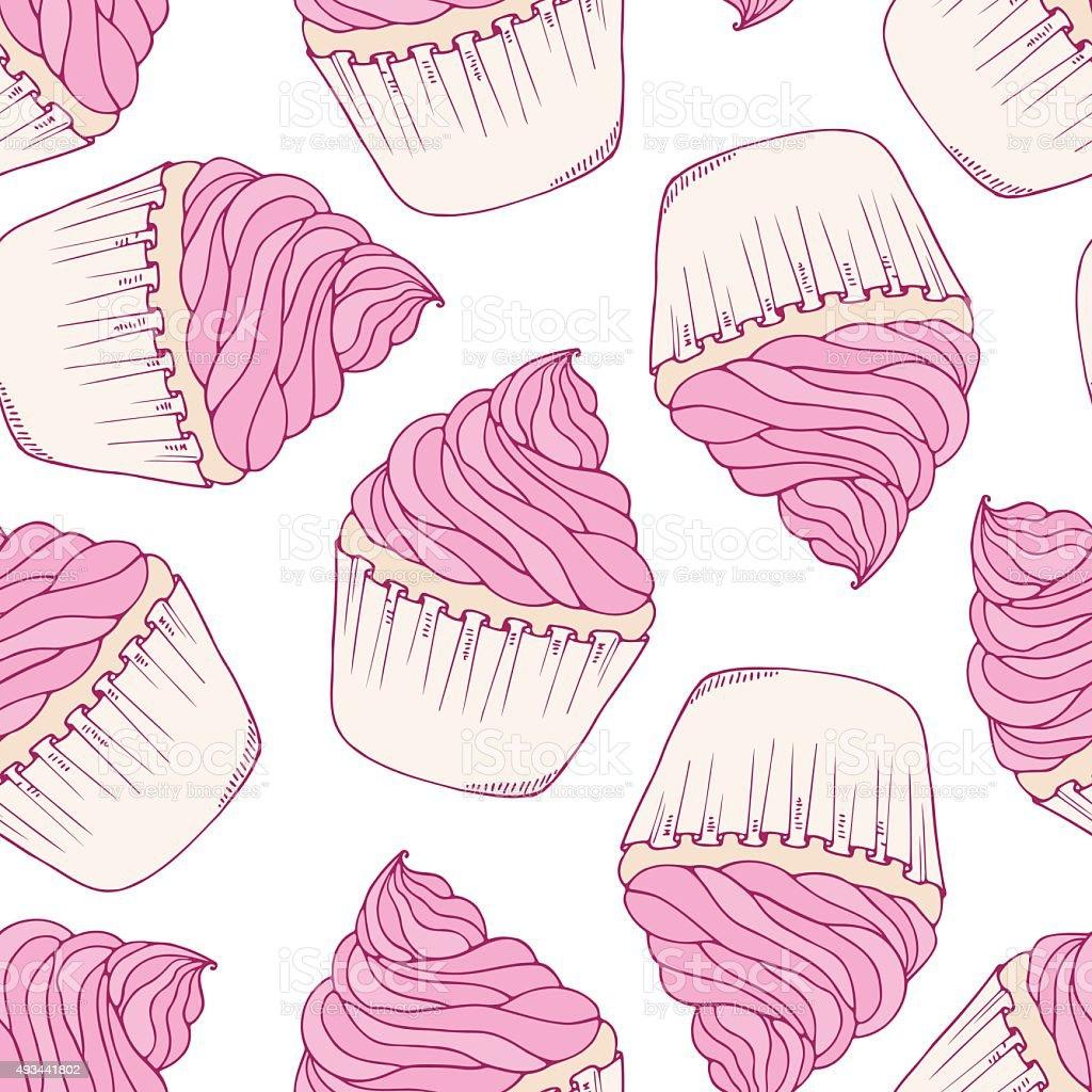 Hand drawn cupcake seamless pattern vector art illustration