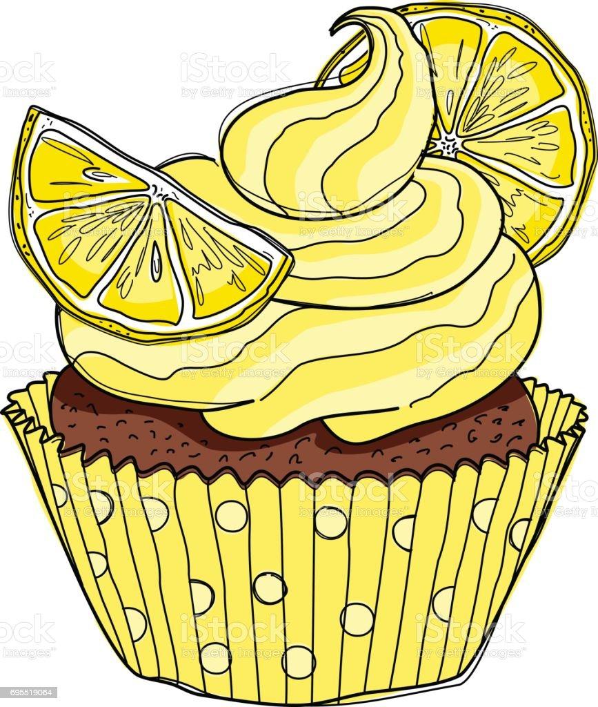 Hand drawn cupcake with doodle buttercream for pastry shop menu. Lemon flavor. Vector illustration vector art illustration