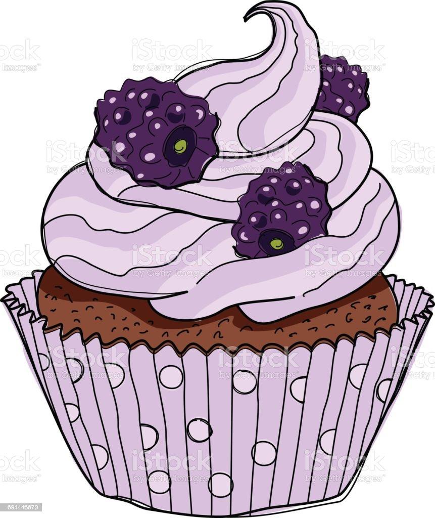 Hand drawn cupcake with doodle buttercream for pastry shop menu. Blackberry flavor. Vector illustration vector art illustration