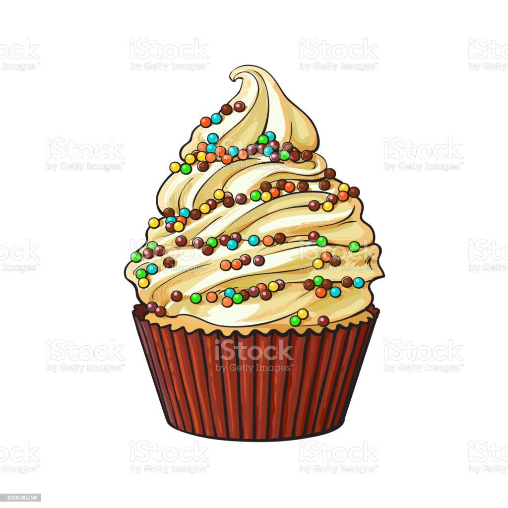 Hand drawn cupcake with perfect cream swirls and colorful sprinkles vector art illustration