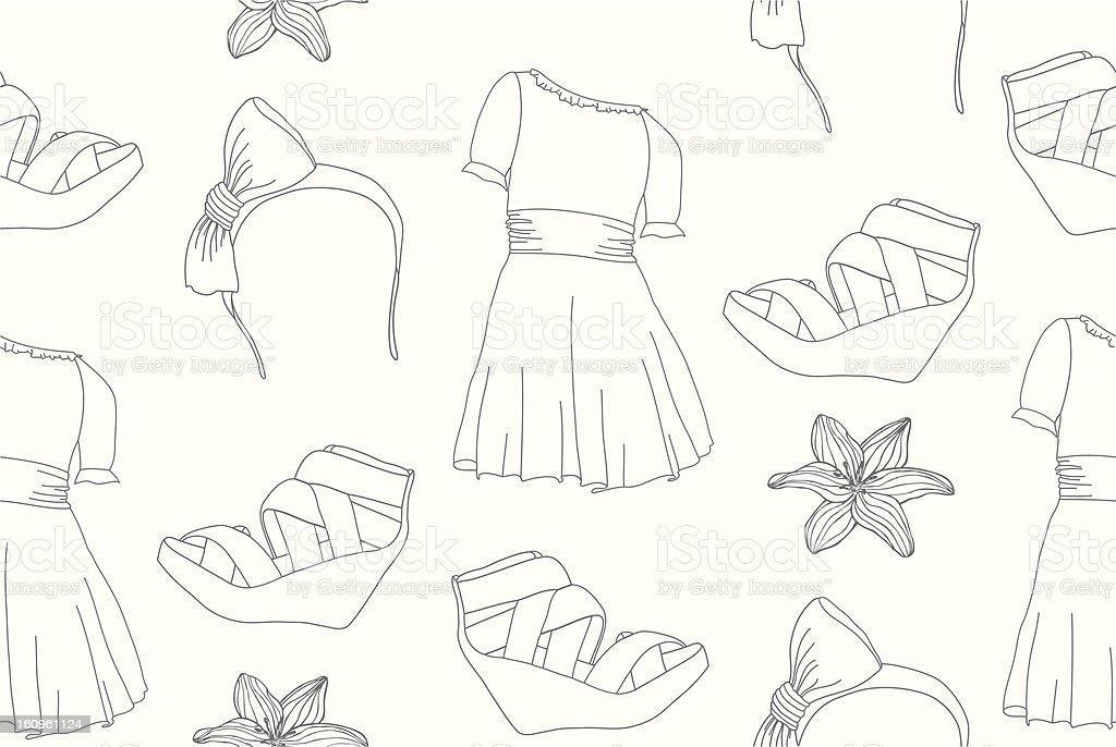 Hand drawn cute fashion seamless pattern royalty-free stock vector art