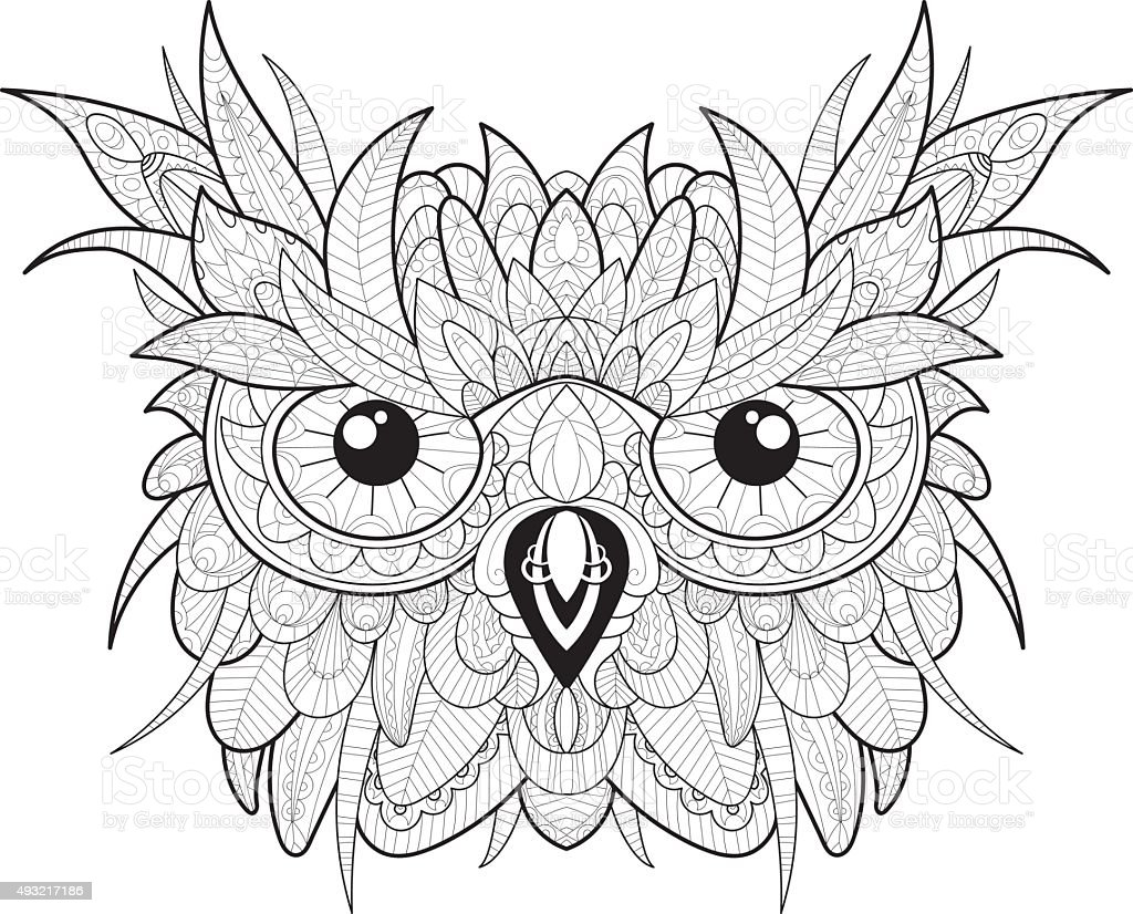 Coloring pages 321 - Hand Drawn Cute Owl Portrait For Adult Coloring Page Royalty Free Stock Vector Art