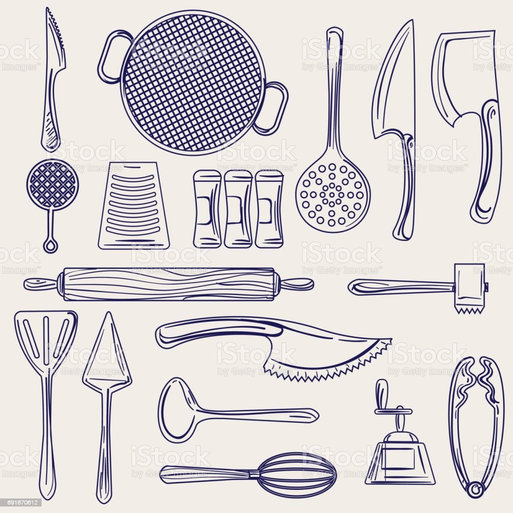 Hand drawn cutlery collection sketch vector art illustration