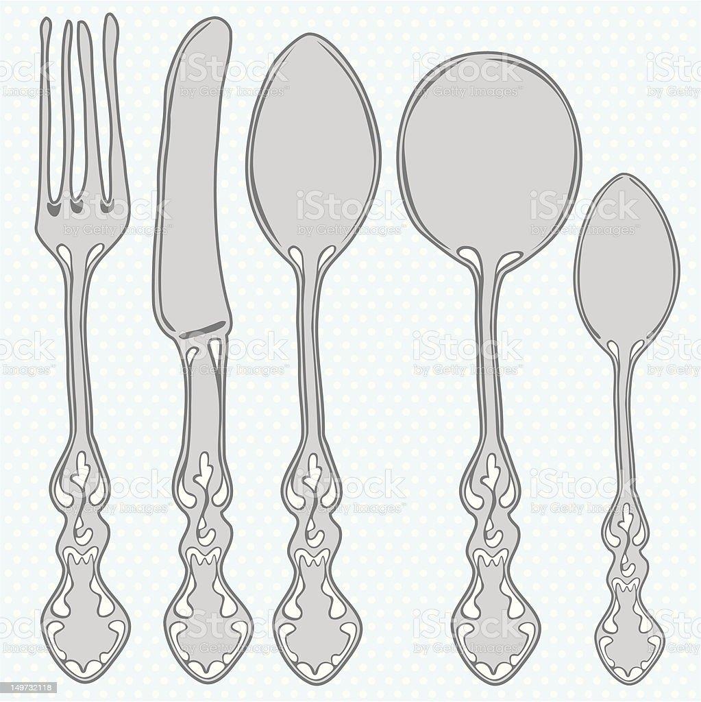 Hand drawn cutlery set royalty-free stock vector art