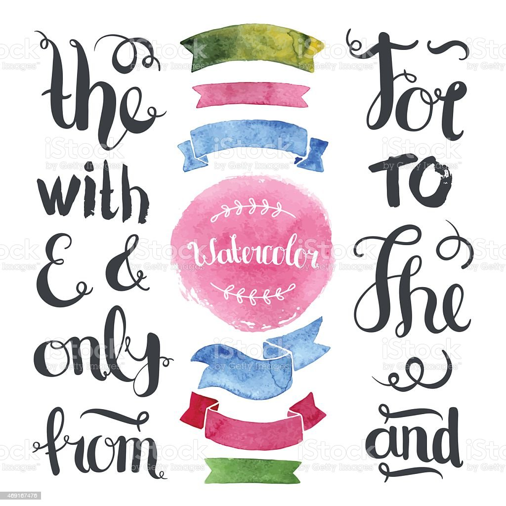 Hand drawn decoration collection with watercolor ribbons vector art illustration