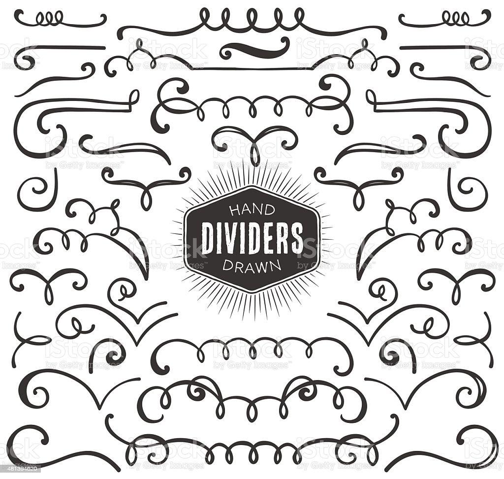 Hand drawn decorative curls, swirls, dividers collection. vector art illustration