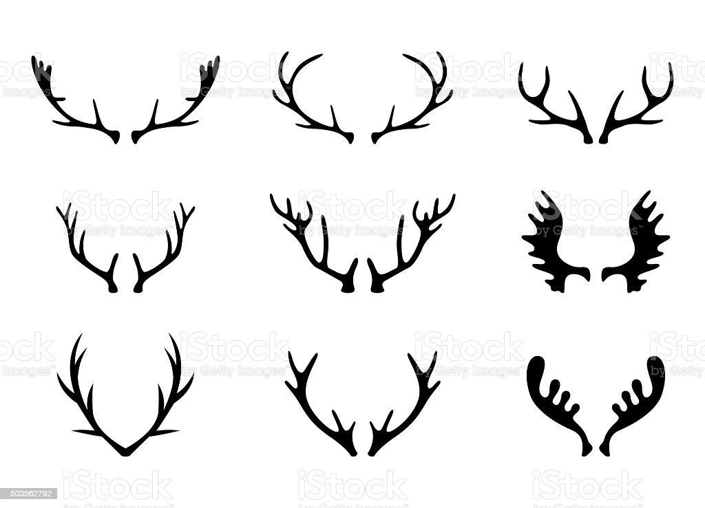 Hand Drawn Deer Antlers Vectors vector art illustration