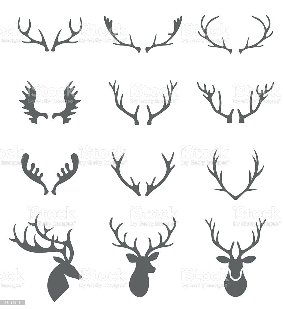 Hand Drawn Deer Antlers Vectors. vector art illustration