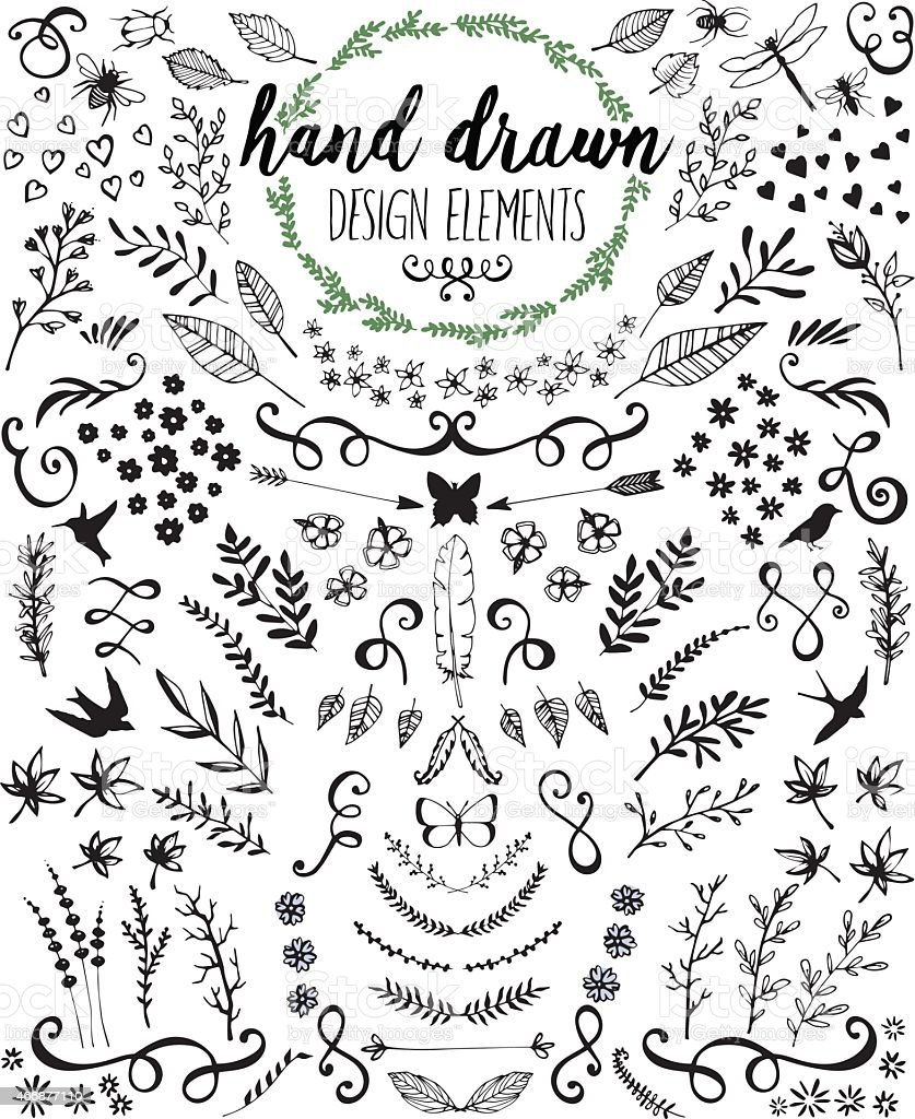 Hand drawn design elements and embellishments in black ink vector art illustration