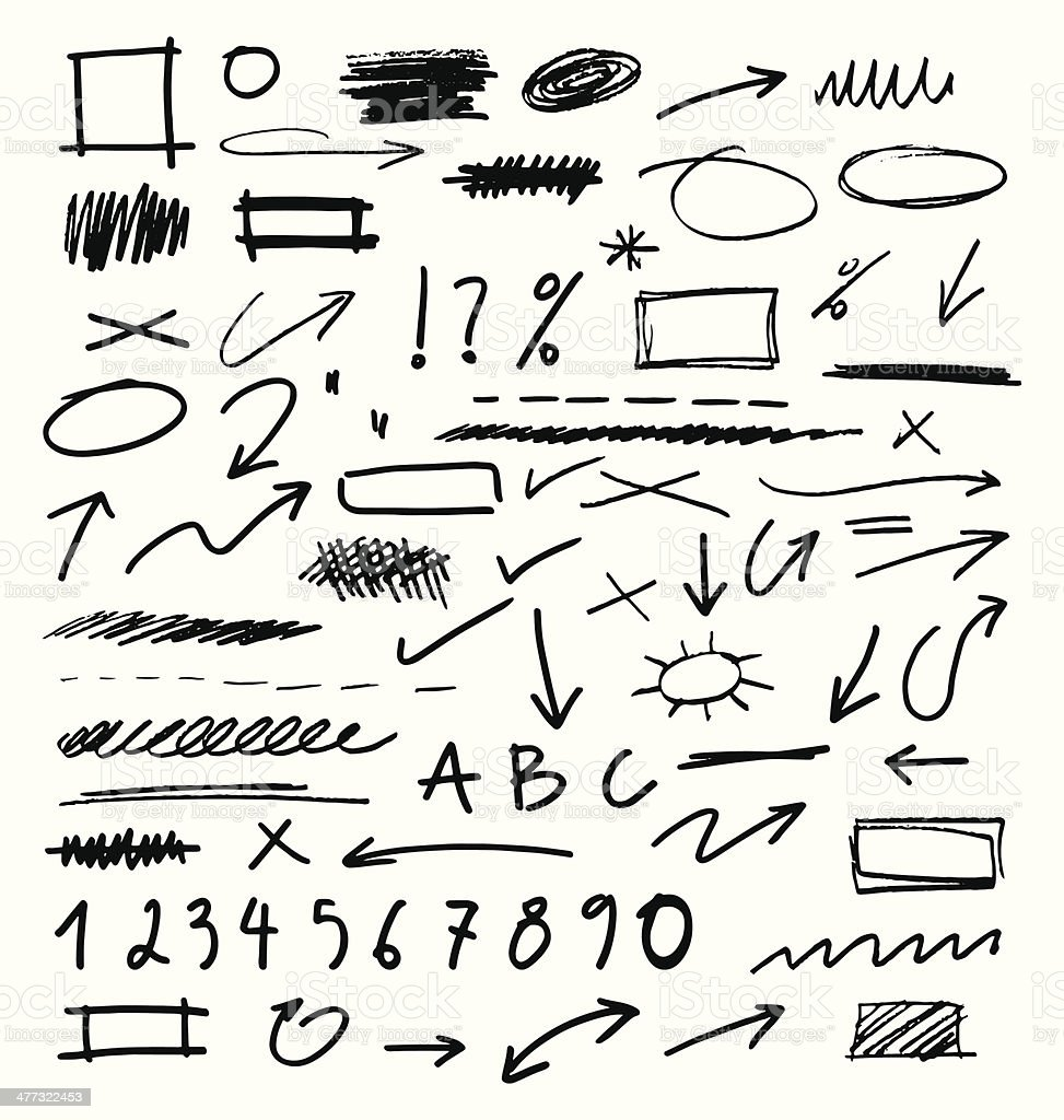 Hand Drawn Design Elements Collection royalty-free stock vector art