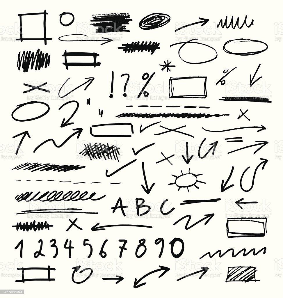 Hand Drawn Design Elements Collection vector art illustration