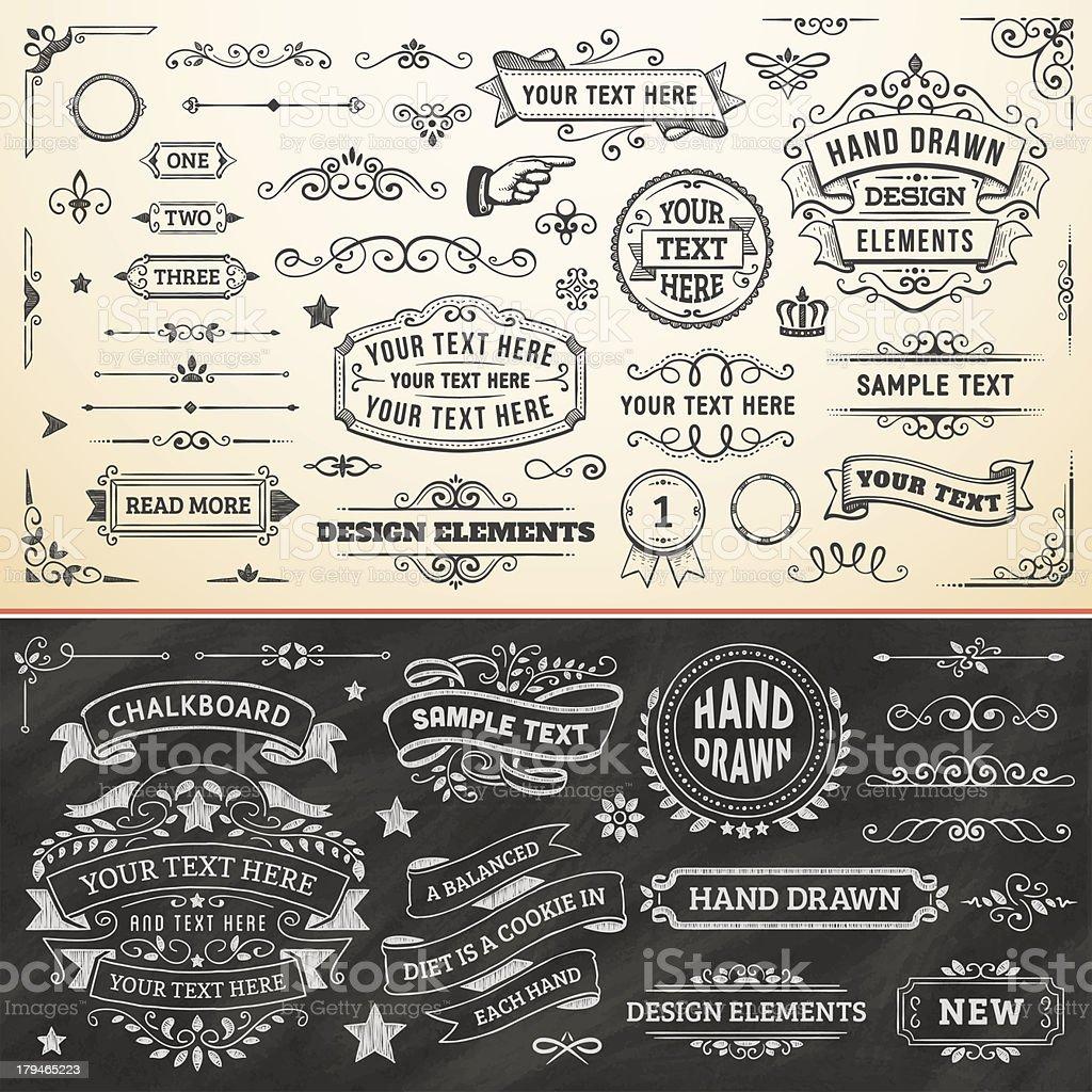 Hand Drawn Design Elements vector art illustration