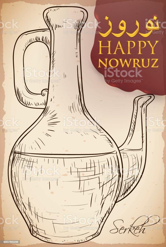 Hand Drawn Design of Serkeh or Vinegar Bottle for Nowruz vector art illustration