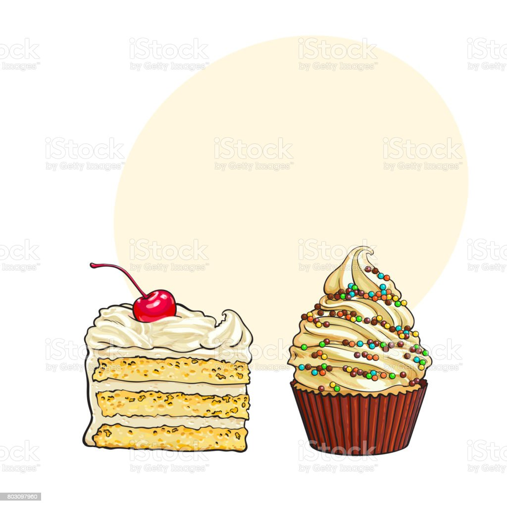 Hand drawn desserts - cupcake and piece of layered chocolate cake vector art illustration