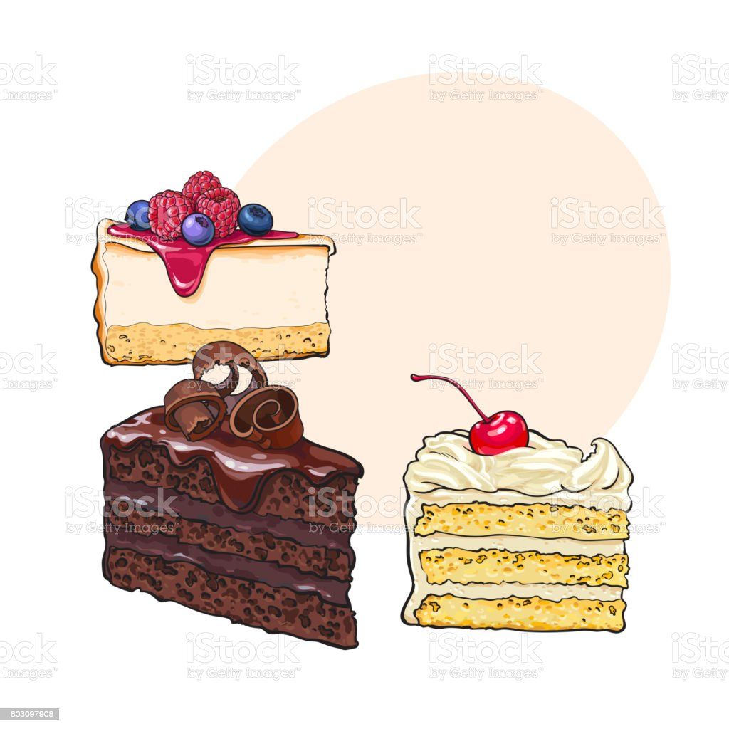 Hand drawn desserts - pieces of cheesecake and layered vanilla cake vector art illustration
