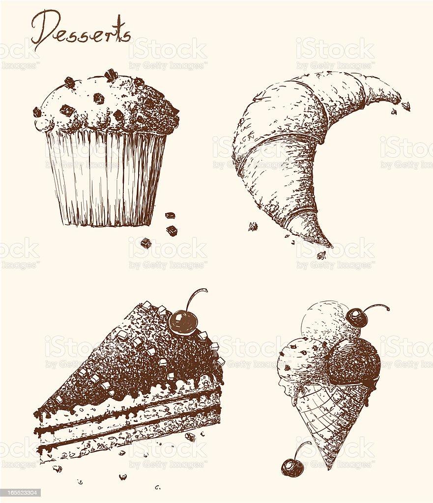 Hand Drawn Desserts royalty-free stock vector art