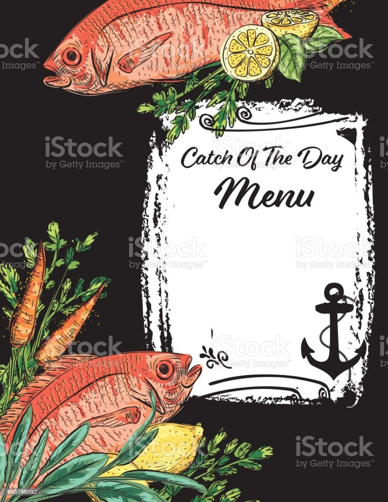 Hand Drawn Detailed Fish And Vegetables vector art illustration
