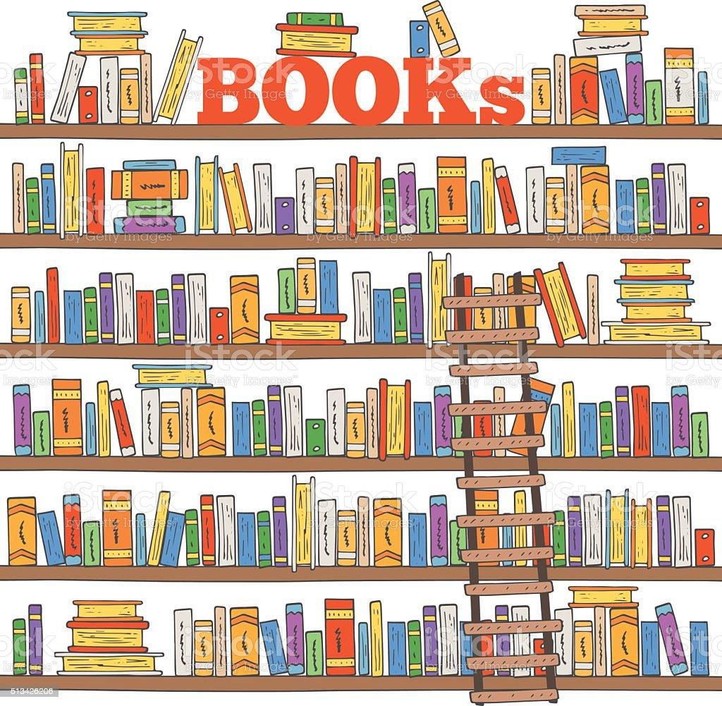 Рисунок книжных полок с книгами