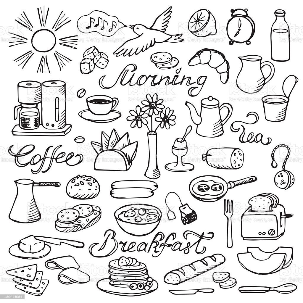 Hand drawn doodle breakfast set vector art illustration