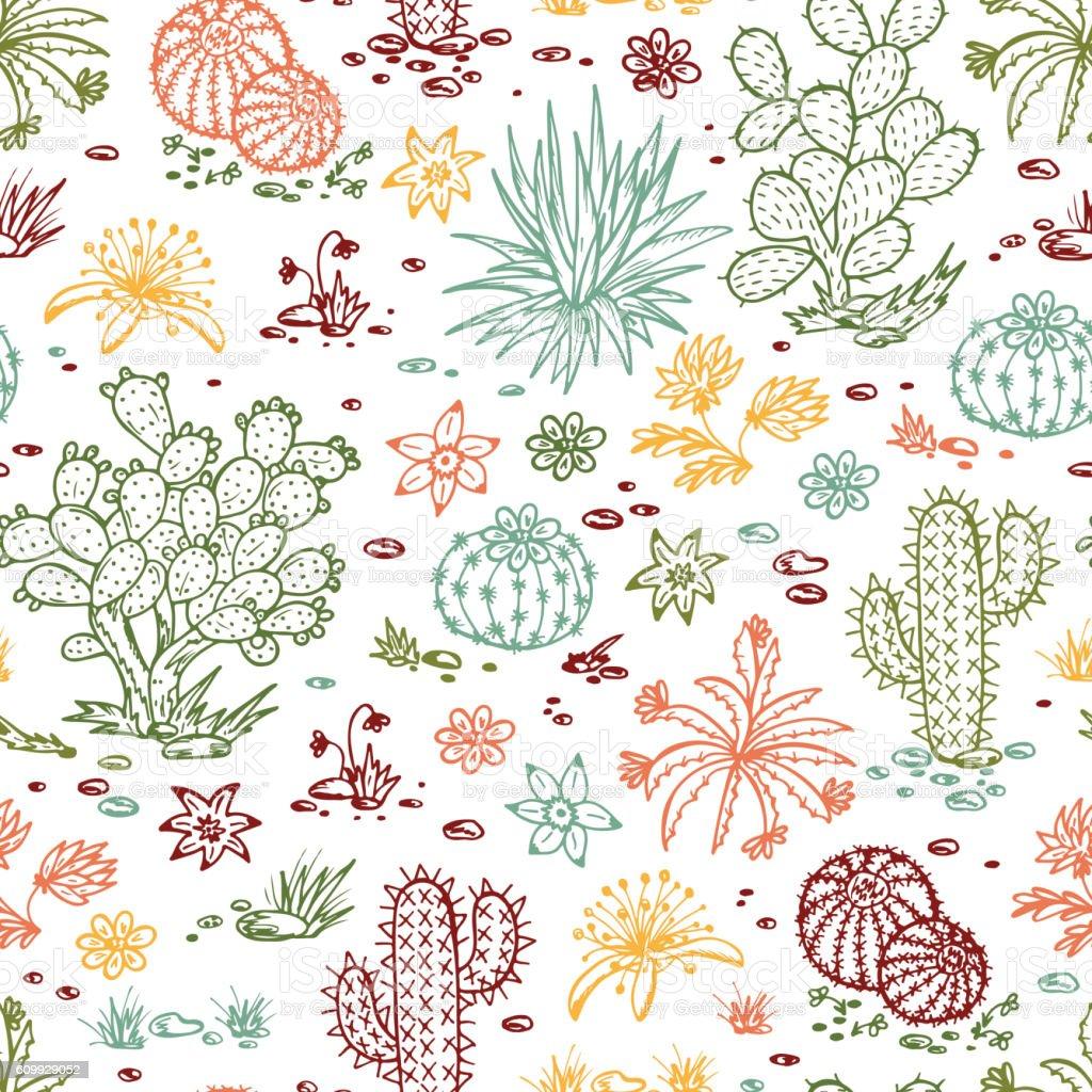 Hand Drawn Doodle Cactus Seamless Pattern Nature Desert