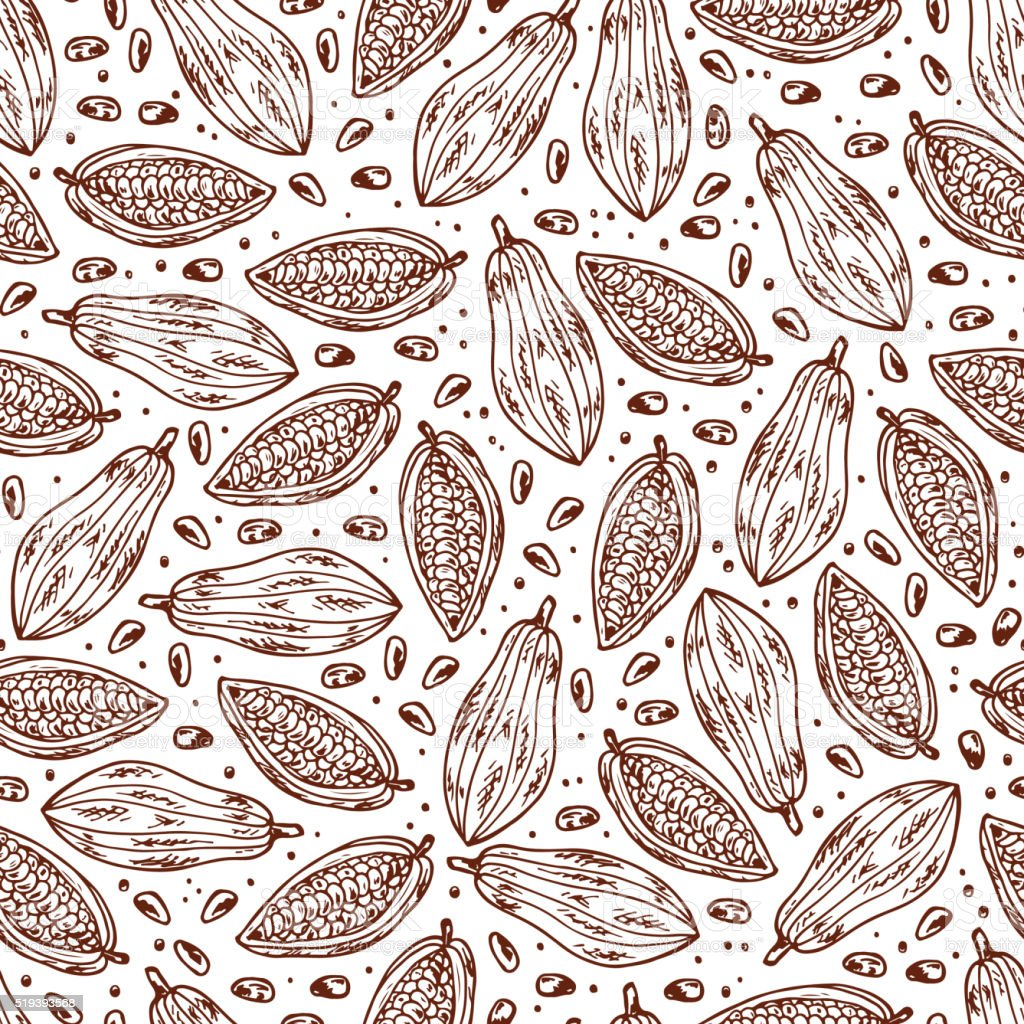 Hand drawn doodle Cocoa fruits and cocoa beans Seamless pattern vector art illustration