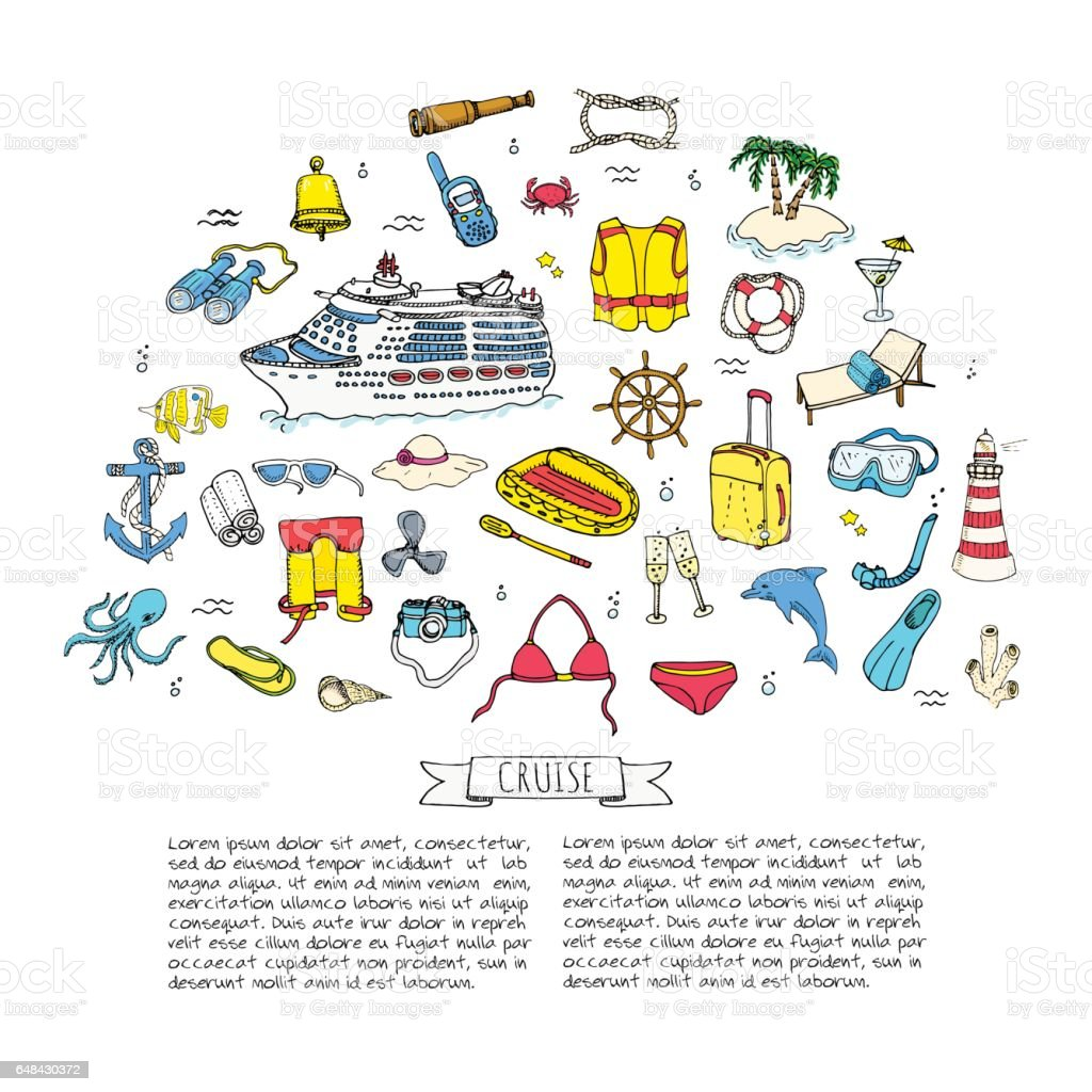 Hand drawn doodle Cruise vacation icons set Vector illustration summer adventure emblem collection Cartoon cruise liner concept elements Sea symbols Marine concept with Cruise Ship Summertime Elements vector art illustration