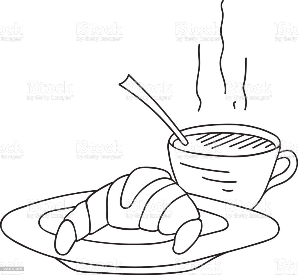 hand drawn doodle cup of coffee steam with croissant on plate