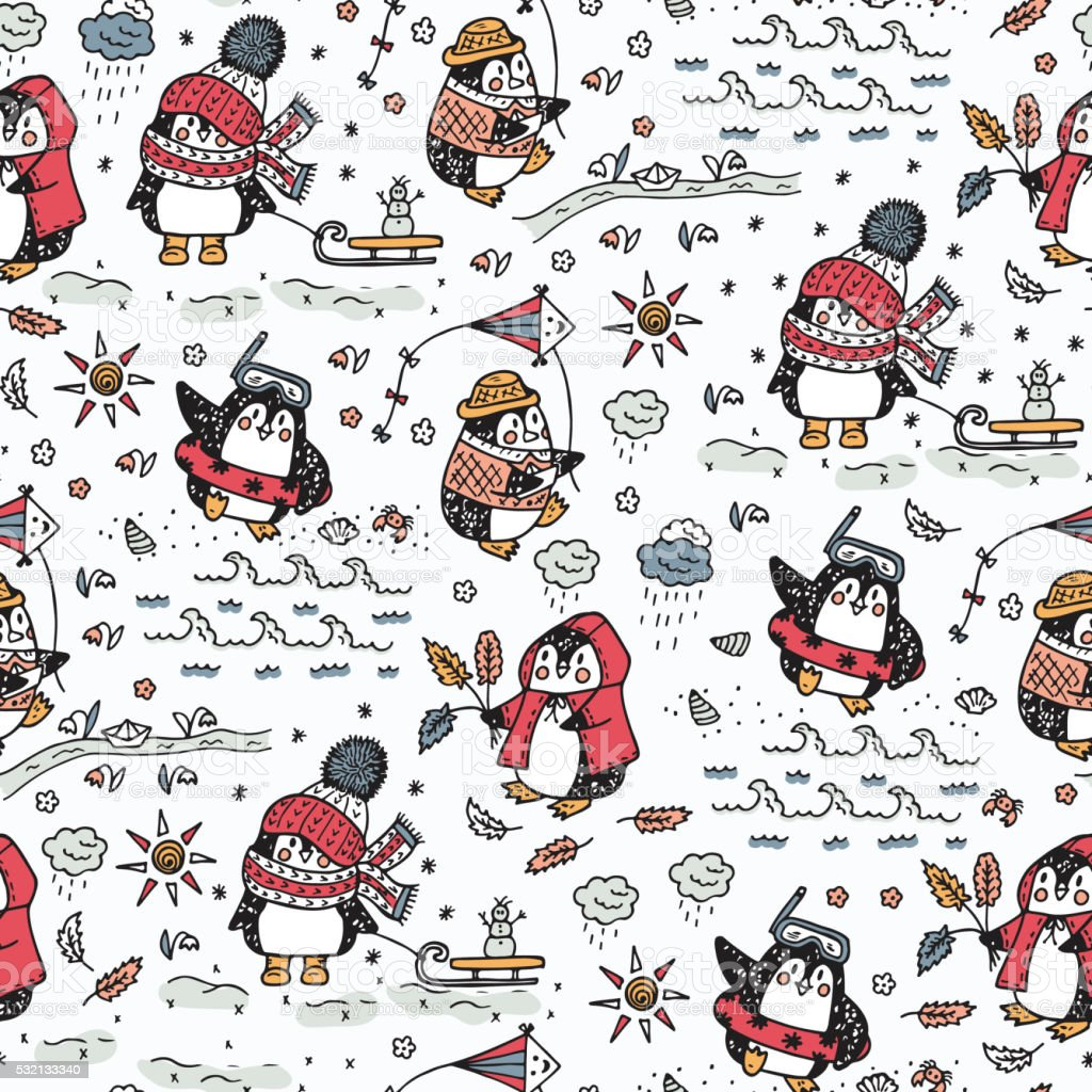 Hand drawn doodle Cute penguins Seamless pattern. Four seasons. vector art illustration