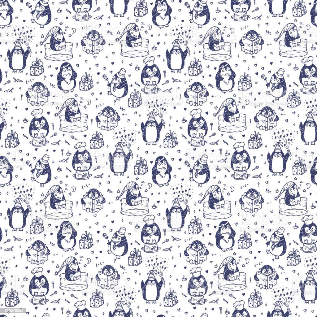 Hand drawn doodle Cute penguins Seamless pattern vector art illustration
